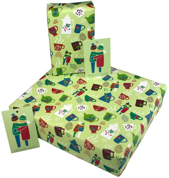 Christmas Yellow Xmas Lights Wrapping Paper Gift Wrap 100/% Recycled