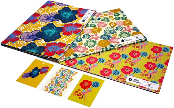 Wild Flowers 1 sheet 1 tag of eco friendly recycled wrapping paper