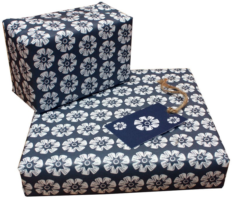 Kate Heiss Blue Bundle Eco Friendly Recycled Wrapping Paper Set 3 sheets