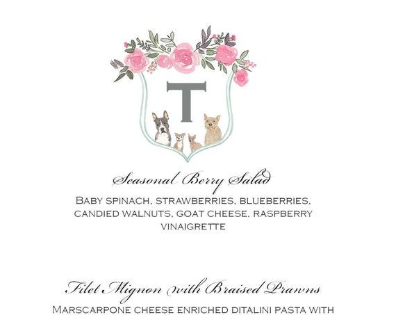Custom Watercolor Wedding Menu Design