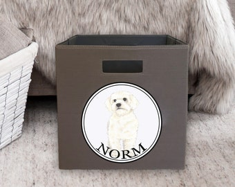 "Personalized White Floof 13"" Storage Bin"
