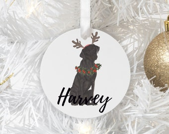 Personalized Black Lab Christmas Ornament
