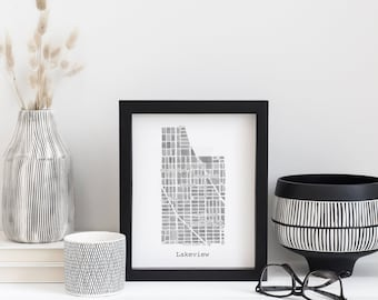 Chicago Neighborhood Map Print (Black & White)