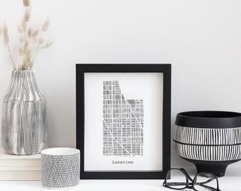 Chicago Neighborhood Map Print (Black & White)