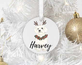 Personalized White Floof Christmas Ornament