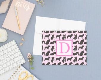 Black / Brindle French Bulldog Pattern Folded Cards (Set of 10)