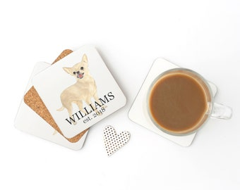 Personalized Fawn Chihuahua Coasters