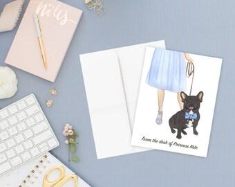 Black / Brindle French Bulldog Walkin' Flat Cards (Set of 10)