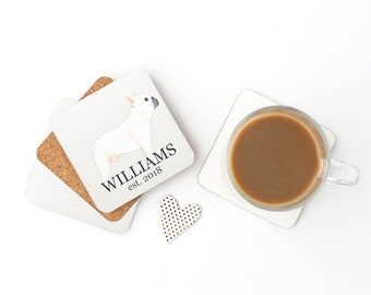 Personalized White / Pied French Bulldog Coasters