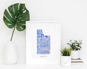 Chicago Neighborhood Map Print (Red & Blue)