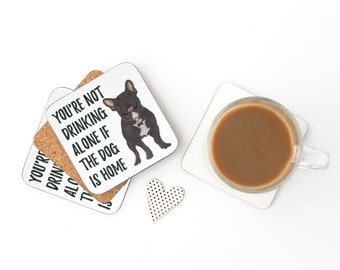 Black / Brindle French Bulldog Drinking Alone Coasters