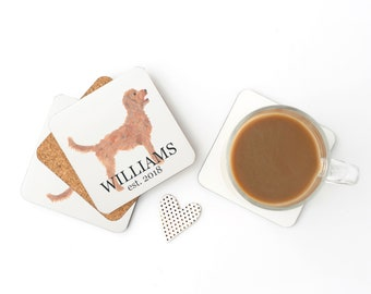 Personalized Golden Doodle Coasters