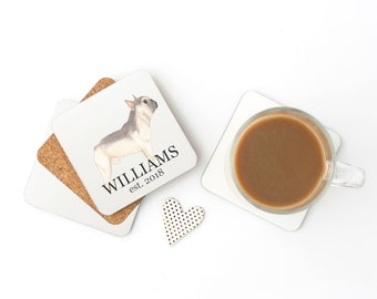 Personalized Blue Fawn Tricolor French Bulldog Coasters