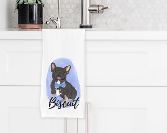 Personalized Black & Tan Tricolor French Bulldog Towel
