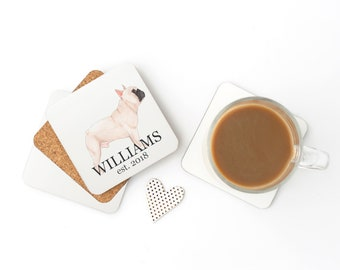 Personalized Masked French Bulldog Coasters