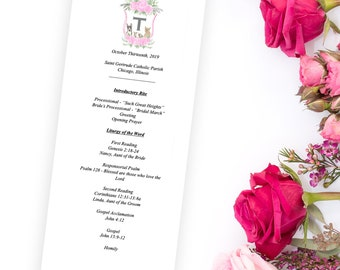 Custom Watercolor Wedding Program Design