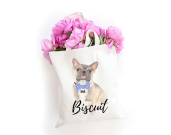 Personalized Tricolor French Bulldog Tote Bag