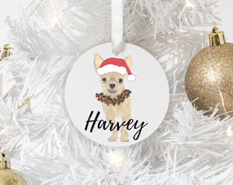 Personalized Fawn Chihuahua Christmas Ornament