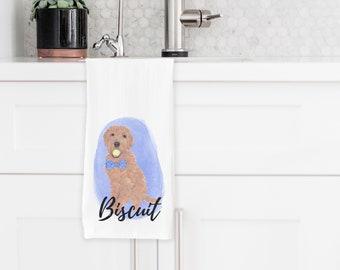 Personalized Golden Doodle Tea Towel