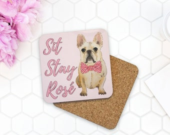 Custom Sit Stay Rose Coasters