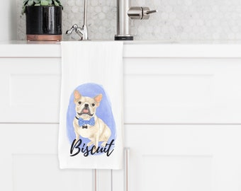 Personalized Cream / Fawn French Bulldog Tea Towel