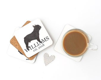 Personalized Black / Brindle French Bulldog Coasters