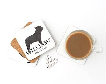 Black / Brindle French Bulldog Personalized Coasters