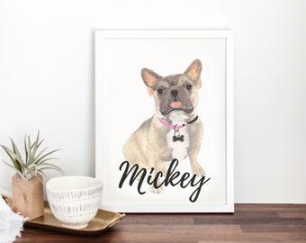 Personalized Blue Fawn Tricolor French Bulldog Fine Art Prints