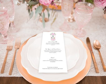 Custom Watercolor Wedding Menu Design