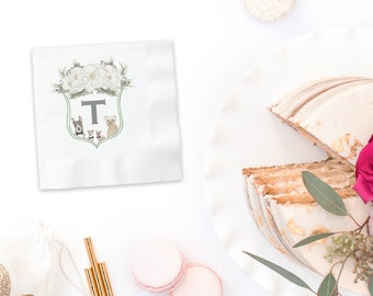 Watercolor Family Crest Cocktail Napkins
