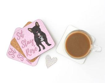 Black / Brindle French Bulldog Sit Stay Rose Coasters