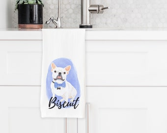 Personalized White/Pied French Bulldog Towel