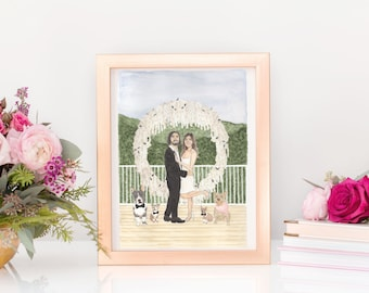 Custom Watercolor Wedding and Engagement Portraits