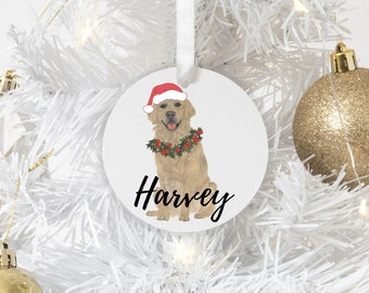 Personalized Golden Retriever Christmas Ornament