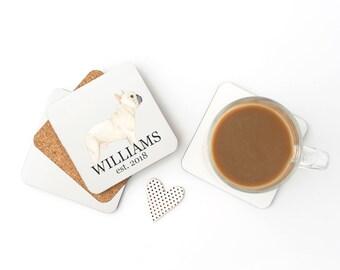 Personalized Fawn / Cream French Bulldog Coasters