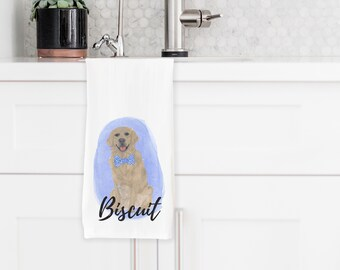 Personalized Golden Retriever Tea Towel
