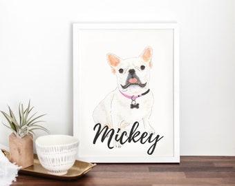 Personalized White / Pied French Bulldog Fine Art Prints