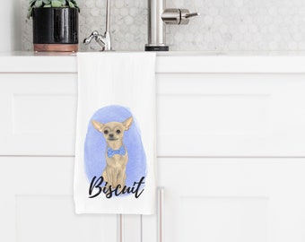 Personalized Fawn Chihuahua Tea Towel