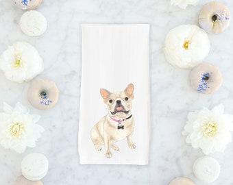 Cream / Fawn French Bulldog Tea Towel