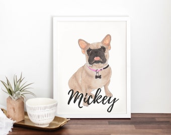 Personalized Masked French Bulldog Fine Art Prints
