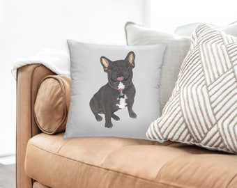 Black / Brindle French Bulldog Reversible Throw Pillow