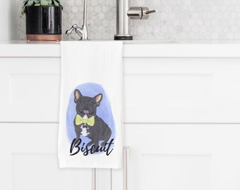 Personalized Black / Brindle French Bulldog Tea Towel