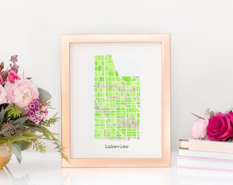 Chicago Neighborhood Map Print (Pink & Green)