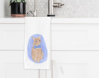 Custom Pet Painting Tea Towel
