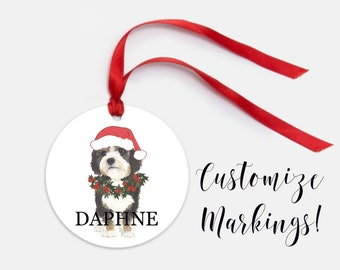 Personalized Bernedoodle Christmas Ornament