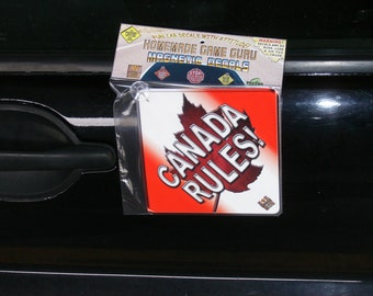 CANADA RULES! (Homemade Game Guru Magnetic Suction Cup Car/Truck Window Decal)