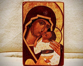 Miniature Russian icon of The Mother of God of Tenderness - A7