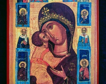 Russian icon of the Mother of God of Tenderness, surrounded by Angels and Saints. A5.