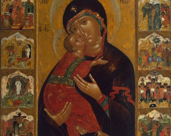 Mother of God (Vladimirskaya) surrounded by Feasts and Mysteries