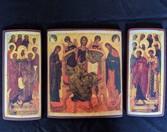 Russian Deisis triptych. Christ enthroned, with His Mother and St John the Baptist. Outer panels: Apostles, Monks, Bishops and other Saints.